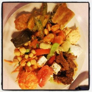 Plate piled high with Vounaki food
