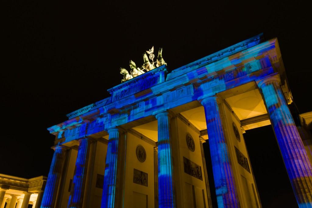 Brandenburg Gate in night illumination. The annual Festival of Lights 2014