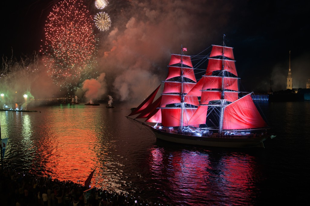 ST.PETERSBURG, RUSSIA - JUNE 24: Celebration Scarlet Sails show during the White Nights Festival, June 24, 2013, St. Petersburg, Russia.