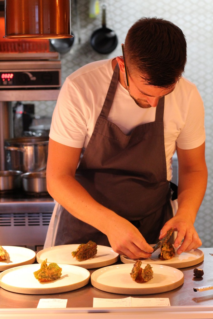 Robert Thompson preparing dishes at Thompson's, Isle of Wight