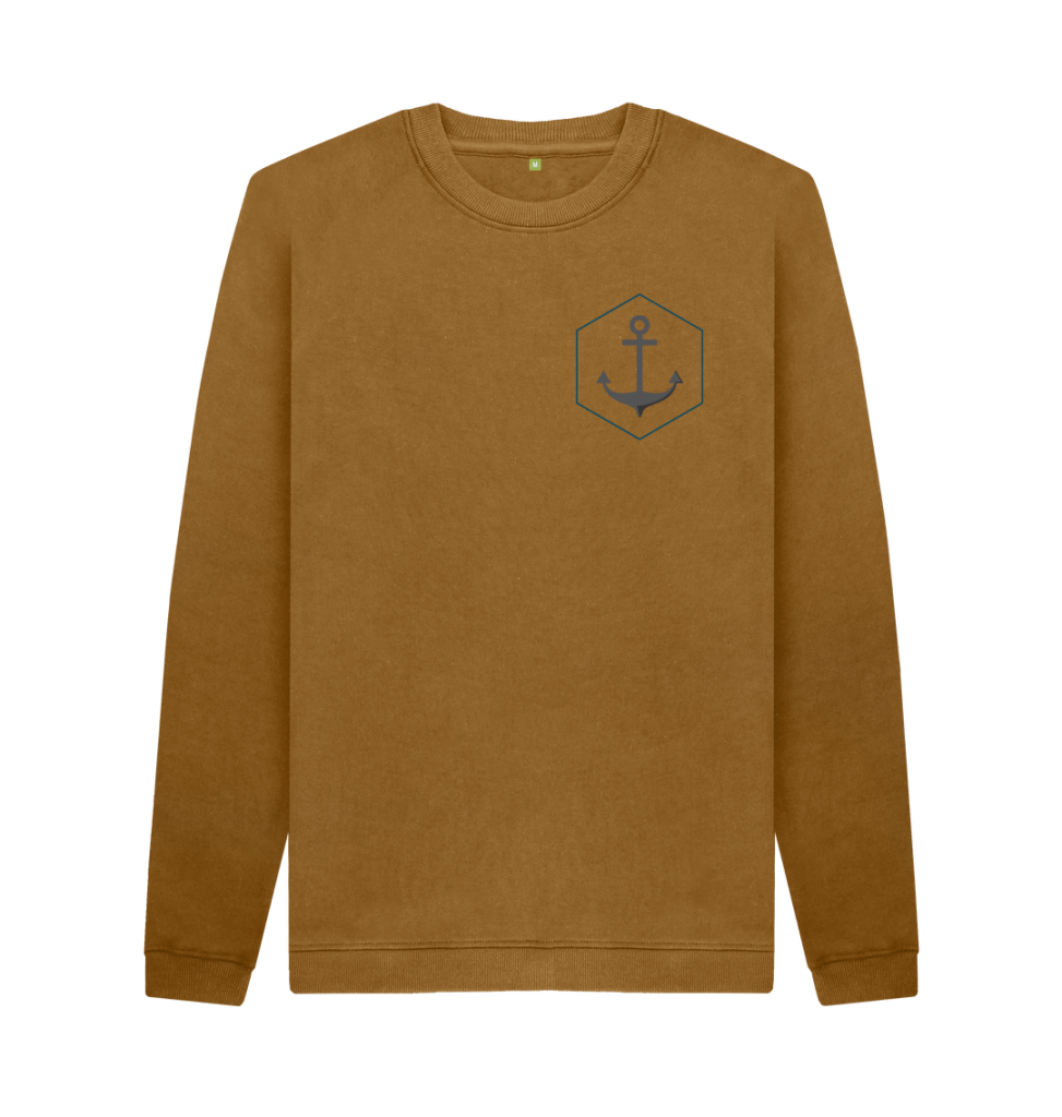 A cut-out image of a sweatshirt in tan brown colour with an anchor logo